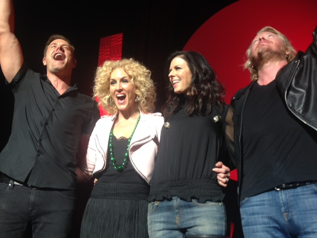 Front row at the Little Big Town concert. See those green beads she's wearing? Yep. Those are (were) mine.